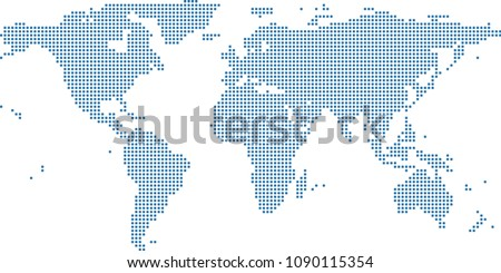 World map dots vector outline blue background. Dotted map of World. Creative pixel art map of World with highly detailed border prepared by a map expert