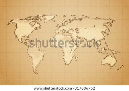 World map drawn on textured aged paper vector illustration.  #317886752