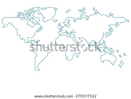 Sketch world map vectors download free vector art stock graphics world map drawn with thin line on a invisible grid of rounded squares and triangles gumiabroncs Gallery