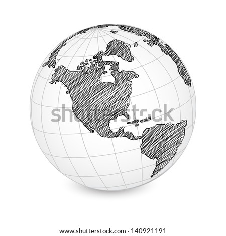 World Map Earth Globe Vector line Sketched Up Illustrator EPS 10