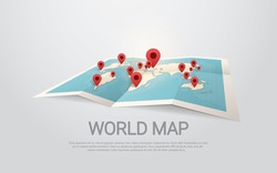 World Map Earth With Pins Travel Concept Vector Illustration