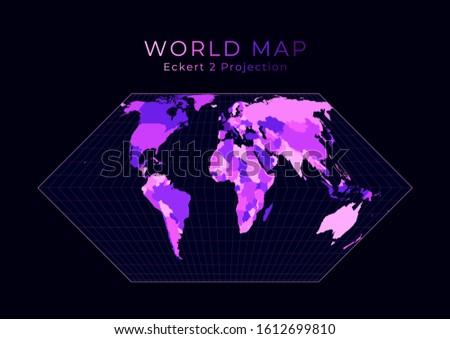 world map eckert ii projection