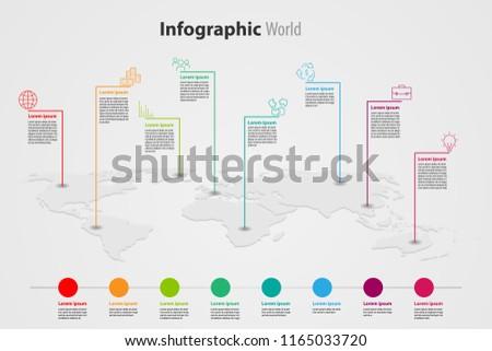 world map element  infographic , infochart business information icon