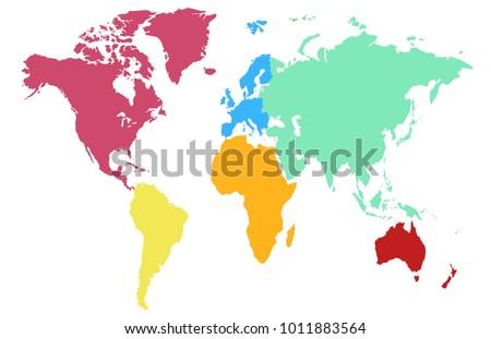 World Map Europe Asia America Africa Australia Ez Canvas