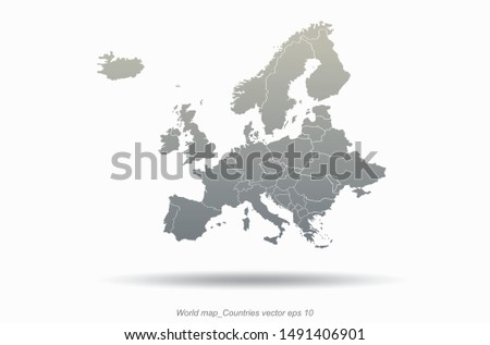 world map europe outline in vector. europe map. detailed europe countries map.