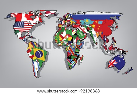 World map flags - stock vector