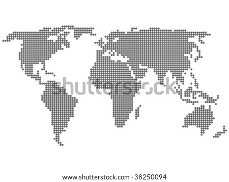 World map formed by dots. Vector illustration.