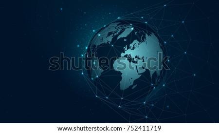 world map global network