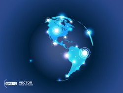 World map globe connection with spot lights effect. 5G Hotspot concept.