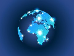 World map globe connection with spot lights effect. 5G Hotspot Concept