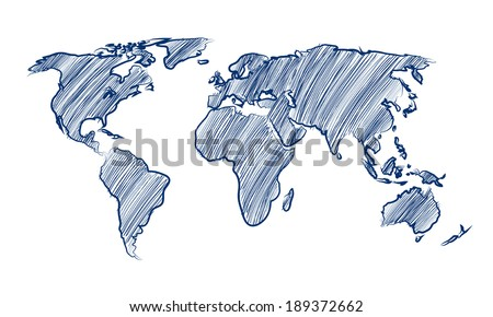 Sketch world map vectors download free vector art stock graphics world map globe hand drawn vector illustration gumiabroncs Images