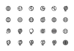 World Map, Globe, Longitude, Latitude, Earth, Editable Stroke Line Icons. Premium Quality Pictogram.