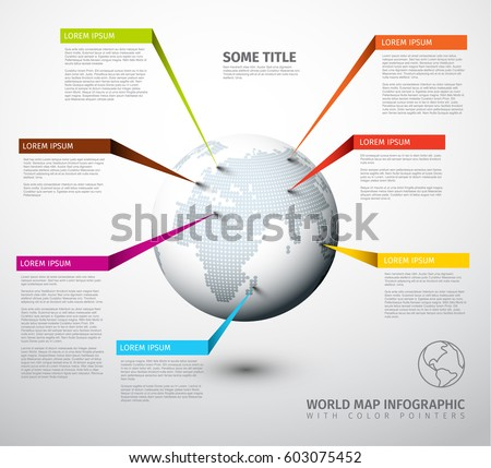 World map globe with pointer marks - light version, with colorful labels. Modern world map globe infographic