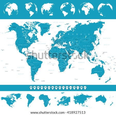world map globes and navigation icons illustration vector illustration of world map and navigation