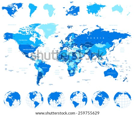 Постер, плакат: World Map Globes Continents, холст на подрамнике