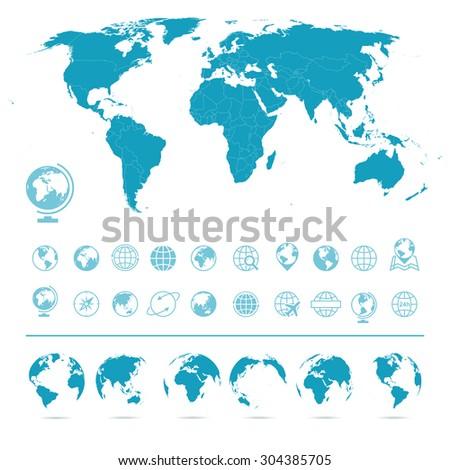 world map  globes icons and