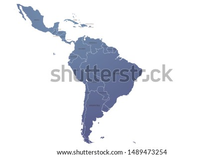 world map. graphic vector of latin america map. south america countries map.