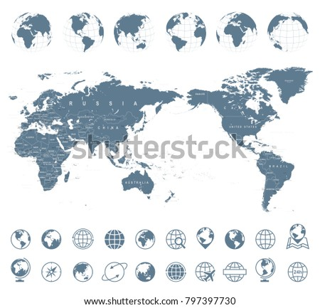 World Map Gray - Asia in Center- vector