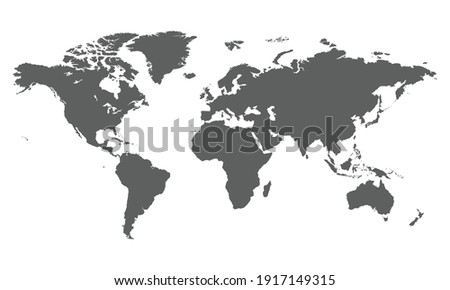 World map. Gray map template for website pattern. Vector illustration of flat Earth isolated on white background. World map icon. Flat globe silhouette. Surface of continents. Simple design.