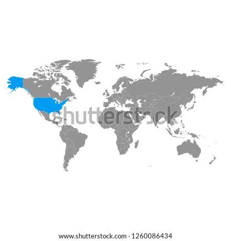 world map grey color and usa