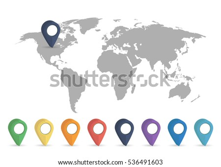 world map grey colored on a