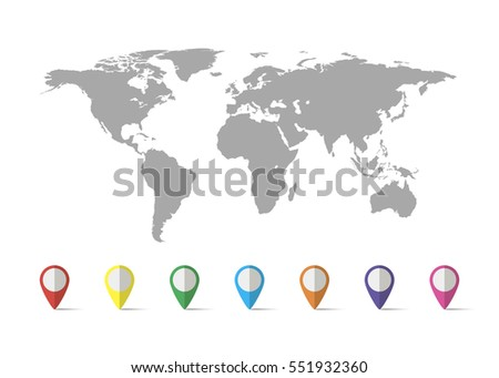 Free vector world map with pins download free vector art stock world map grey colored on a white background with pin gumiabroncs Image collections