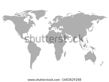 World map, grey template. Flat Earth, globe, worldmap. Travel worldwide concept. Vector isolated on white background