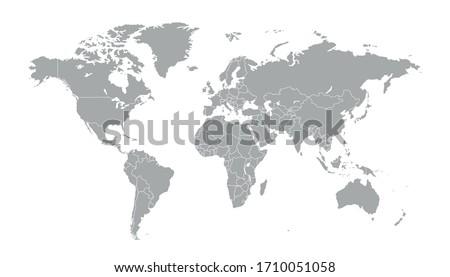 World map grey vector modern