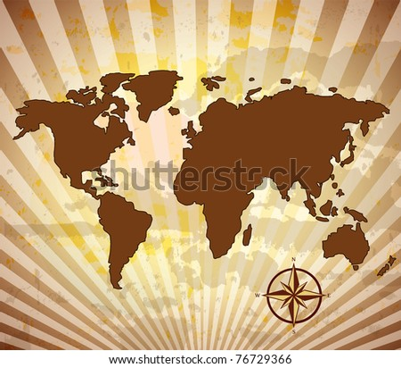 World map grungy with compass - stock vector