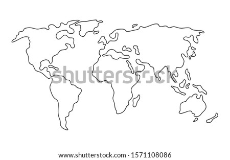 World map. Hand drawn simple stylized continents silhouette in minimal line outline thin shape. Isolated vector illustration