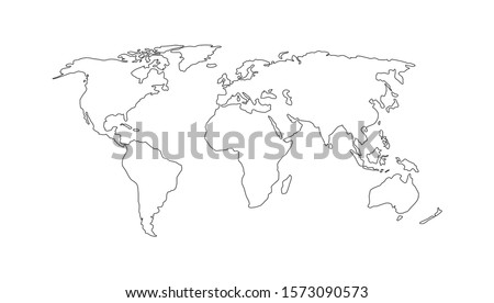 World map. Hand drawn simple stylized continents silhouette in minimal line outline thin shape. Isolated vector illustration on white background. Design elements, template for laser cutting