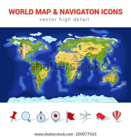 world map high detail vector