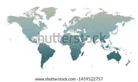 World map. high quality vector infographic of countries world map. detailed country map of world.