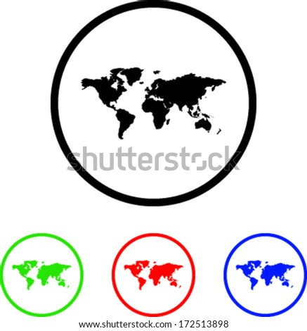World Map Icon Illustration with Four Color Variations