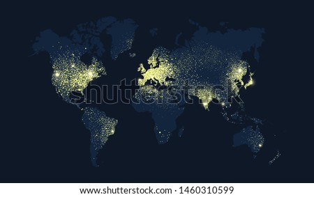 World map illustration, earth planet lights at night. Worldwide satellite view of nocturnal lights or glitter effect concept. Foto d'archivio ©