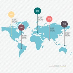 World map illustration infographics geometric concept design vector template.