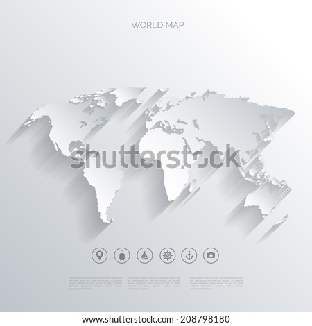 World map in a flat style.Earth,globe.Route planning.Map of Asia,Africa,North America,South America,Antarctica,Europe,Australia.Continents of the world on the map.World navigation system.GPS.