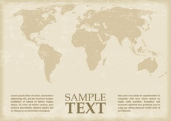 World Map in antique style. Vector