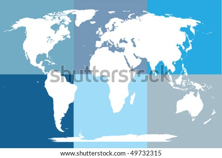 World map in blue tones, mosaic