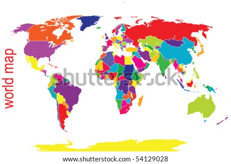 World map in bright tones