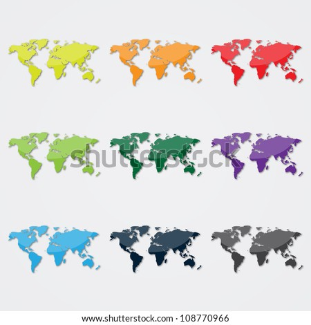 World Map in Different Colors