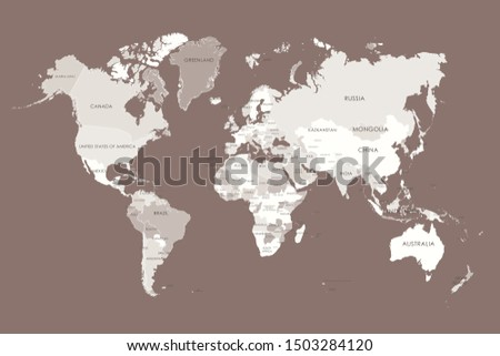 World map in four colors on white background. High detail political map with country names. Vector
