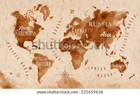 world map in old style in...