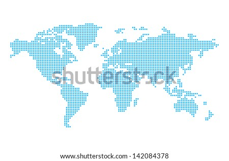 World map in pixels