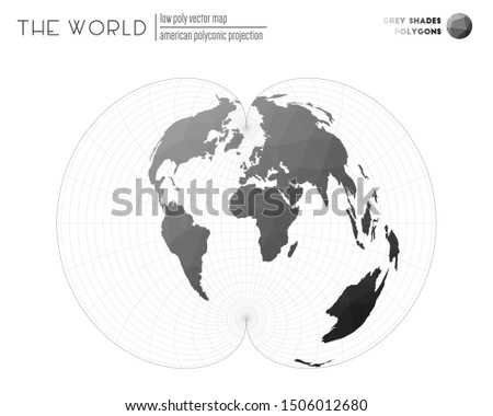 World map in polygonal style. American polyconic projection of the world. Grey Shades colored polygons. Elegant vector illustration.