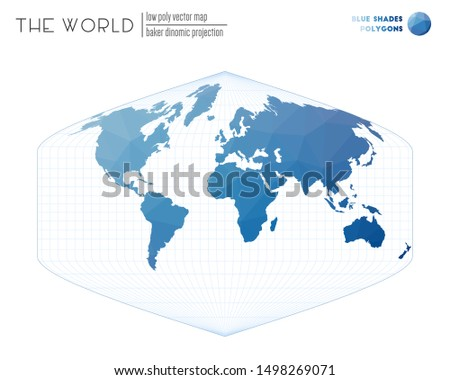 World map in polygonal style. Baker Dinomic projection of the world. Blue Shades colored polygons. Contemporary vector illustration.