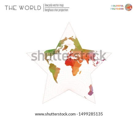 World map in polygonal style. Berghaus star projection of the world. Colorful colored polygons. Neat vector illustration.