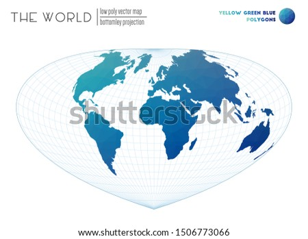 World map in polygonal style. Bottomley projection of the world. Yellow Green Blue colored polygons. Stylish vector illustration.