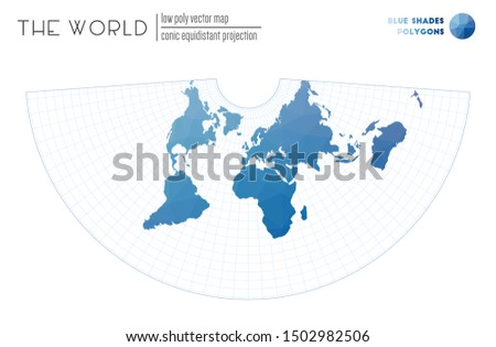 World map in polygonal style. Conic equidistant projection of the world. Blue Shades colored polygons. Creative vector illustration.