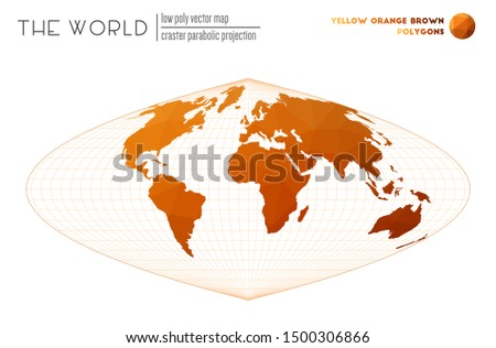 World map in polygonal style. Craster parabolic projection of the world. Yellow Orange Brown colored polygons. Contemporary vector illustration.